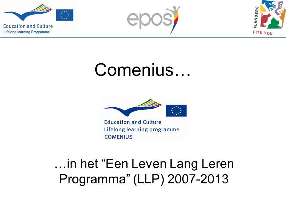 Comenius… …in het Een Leven Lang Leren Programma (LLP) 2007-2013