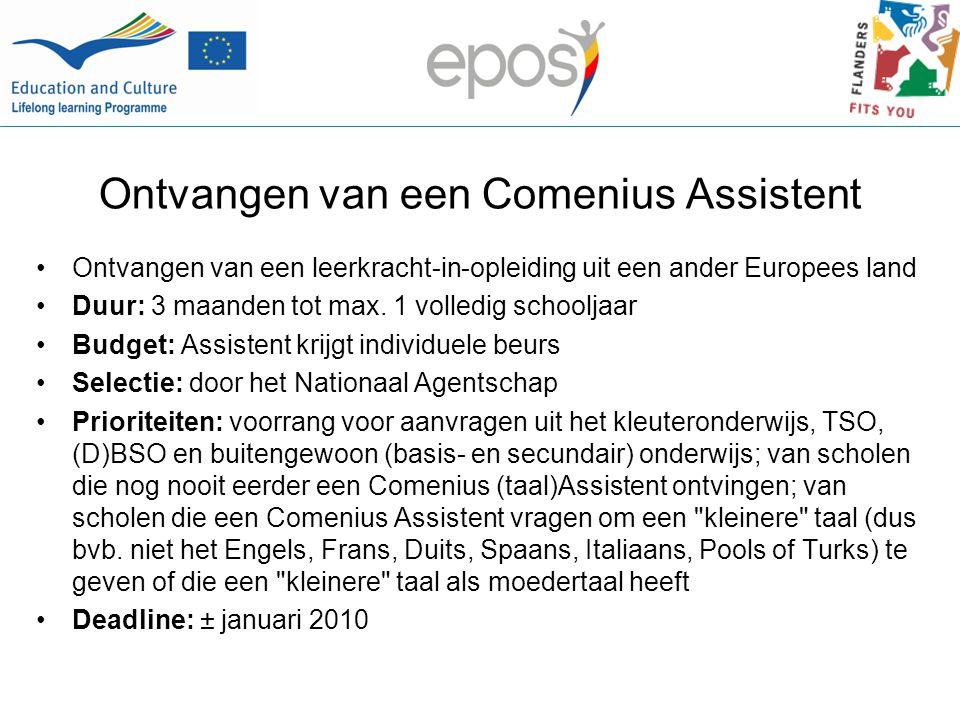 Ontvangen van een Comenius Assistent Ontvangen van een leerkracht-in-opleiding uit een ander Europees land Duur: 3 maanden tot max.