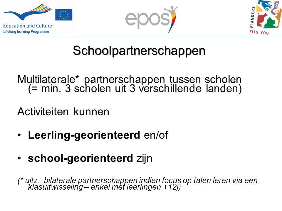 Schoolpartnerschappen Multilaterale* partnerschappen tussen scholen (= min.