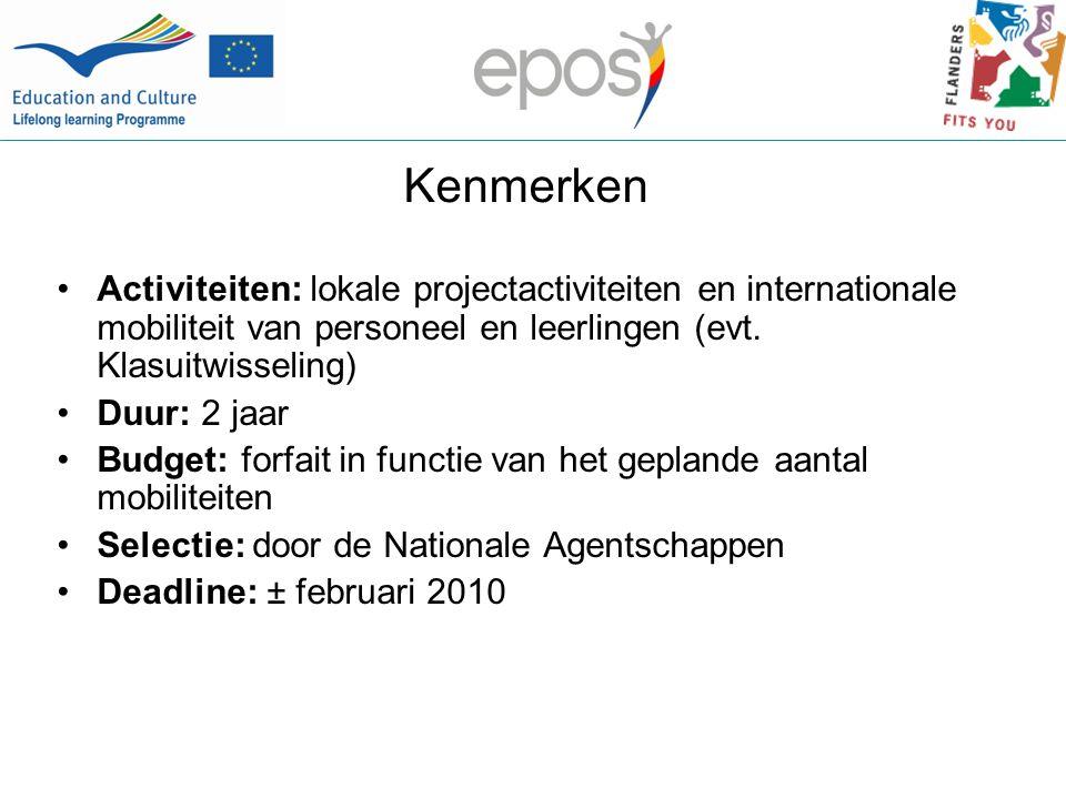 Kenmerken Activiteiten: lokale projectactiviteiten en internationale mobiliteit van personeel en leerlingen (evt.