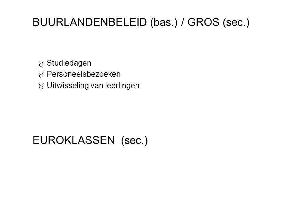BUURLANDENBELEID (bas.) / GROS (sec.)  Studiedagen  Personeelsbezoeken  Uitwisseling van leerlingen EUROKLASSEN (sec.)