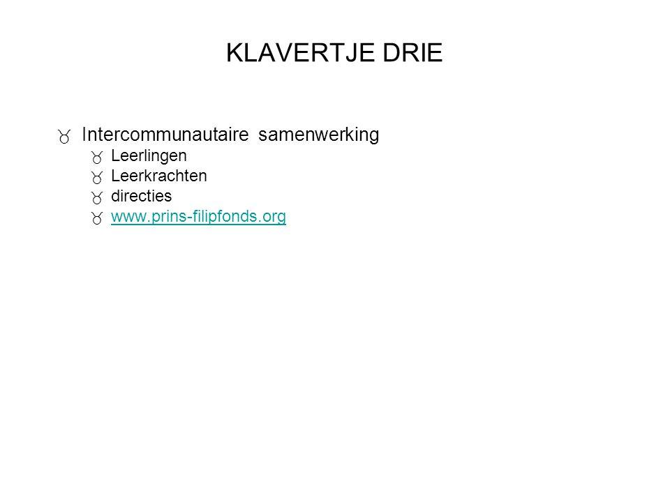KLAVERTJE DRIE  Intercommunautaire samenwerking  Leerlingen  Leerkrachten  directies  www.prins-filipfonds.org www.prins-filipfonds.org