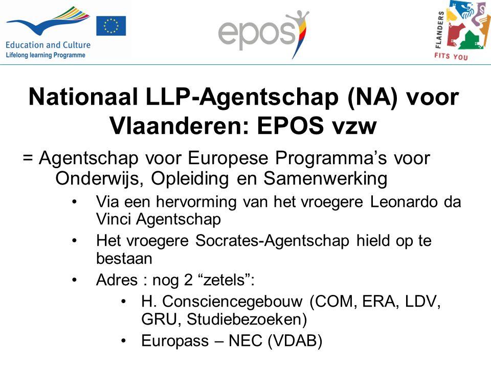 Nationaal LLP-Agentschap (NA) voor Vlaanderen: EPOS vzw = Agentschap voor Europese Programma's voor Onderwijs, Opleiding en Samenwerking Via een hervorming van het vroegere Leonardo da Vinci Agentschap Het vroegere Socrates-Agentschap hield op te bestaan Adres : nog 2 zetels : H.