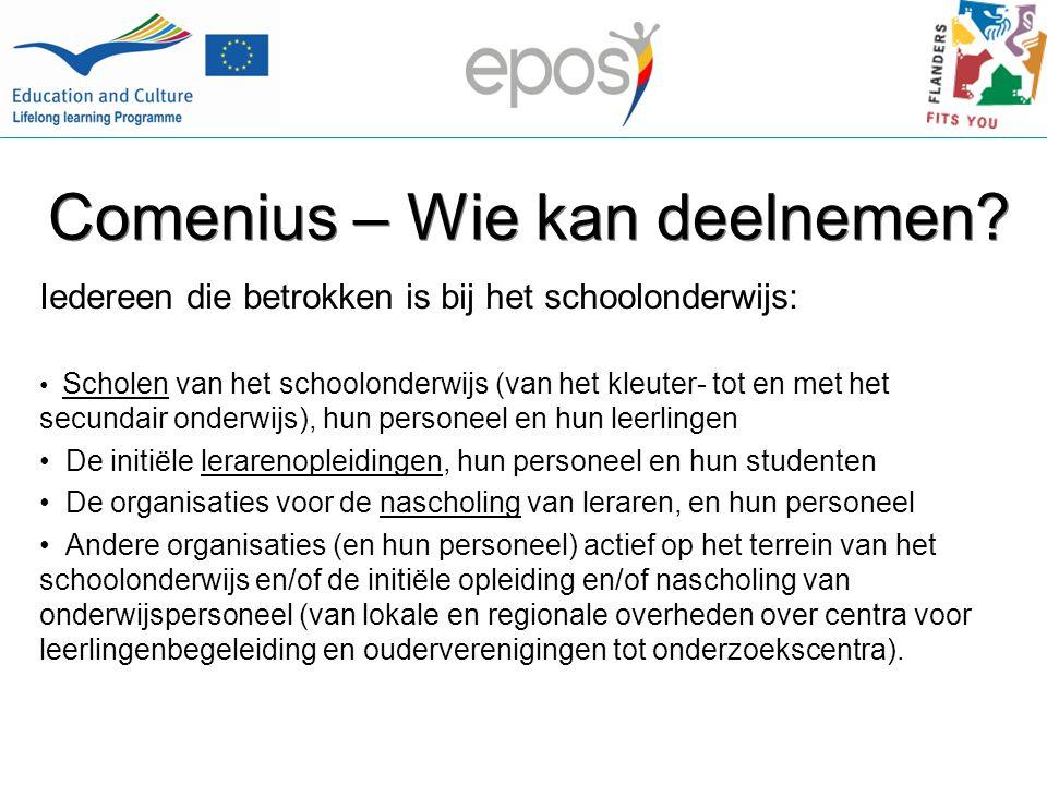 Comenius Acties 1.Multilaterale Samenwerkingsprojecten (gecentraliseerd) 2.Comenius Schoolpartnerschappen en Comenius Regio Partnerschappen (vanaf 2009) 3.Individuele mobiliteit: van leerlingen (vanaf 2010); nascholing voor onderwijspersoneel; Comenius Assistent(schappen) 4.Comenius Netwerken (gecentraliseerd) 5.Begeleidende maatregelen (o.a.