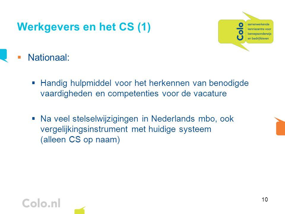 10 Werkgevers en het CS (1)  Nationaal:  Handig hulpmiddel voor het herkennen van benodigde vaardigheden en competenties voor de vacature  Na veel