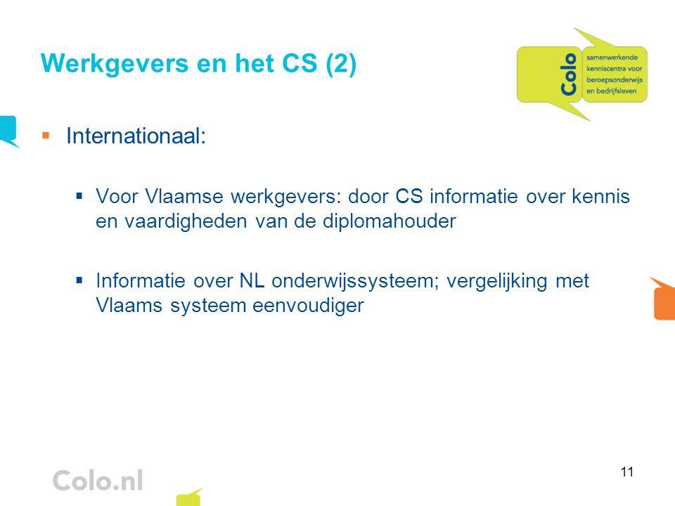 11 Werkgevers en het CS (2)  Internationaal:  Voor Vlaamse werkgevers: door CS informatie over kennis en vaardigheden van de diplomahouder  Informa
