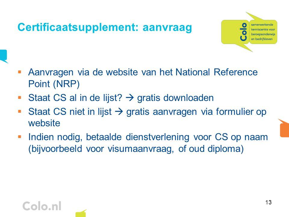 13 Certificaatsupplement: aanvraag  Aanvragen via de website van het National Reference Point (NRP)  Staat CS al in de lijst?  gratis downloaden 