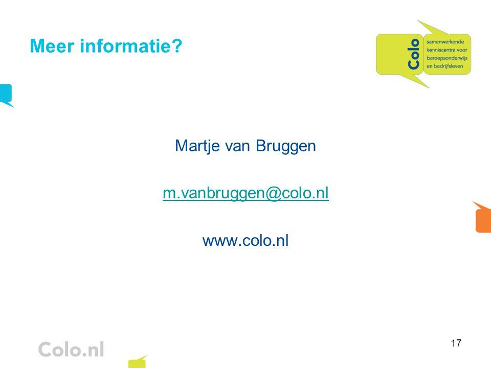 17 Meer informatie? Martje van Bruggen m.vanbruggen@colo.nl www.colo.nl