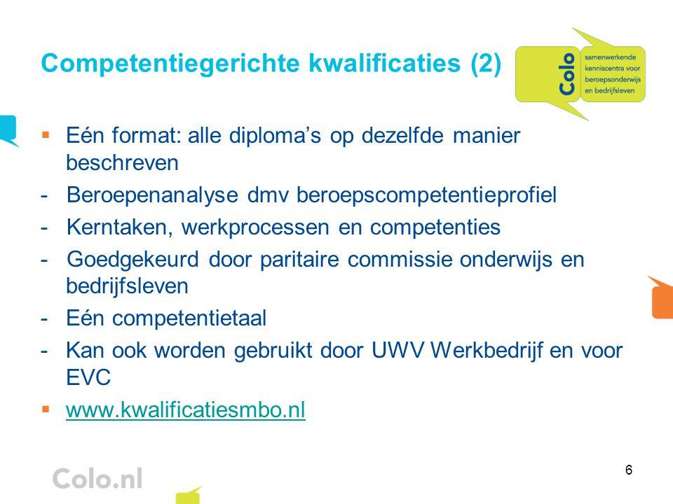 6 Competentiegerichte kwalificaties (2)  Eén format: alle diploma's op dezelfde manier beschreven - Beroepenanalyse dmv beroepscompetentieprofiel - K