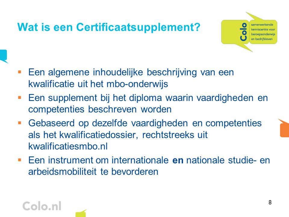 9 Certificaatsupplement: voor wie.