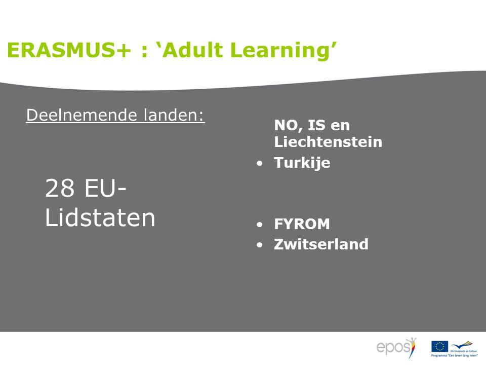 Deelnemende landen: 28 EU- Lidstaten NO, IS en Liechtenstein Turkije FYROM Zwitserland ERASMUS+ : 'Adult Learning'