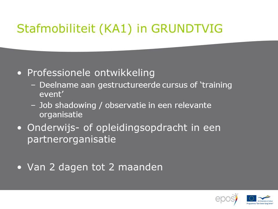 Stafmobiliteit (KA1) in GRUNDTVIG Professionele ontwikkeling –Deelname aan gestructureerde cursus of 'training event' –Job shadowing / observatie in een relevante organisatie Onderwijs- of opleidingsopdracht in een partnerorganisatie Van 2 dagen tot 2 maanden