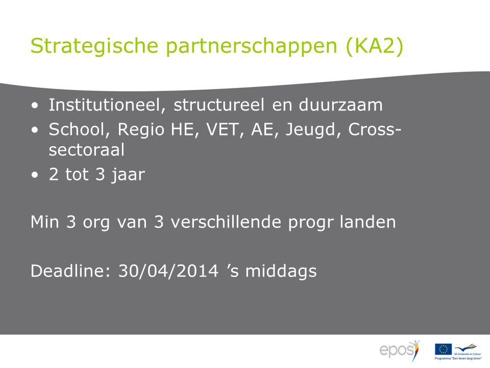 Strategische partnerschappen (KA2) Institutioneel, structureel en duurzaam School, Regio HE, VET, AE, Jeugd, Cross- sectoraal 2 tot 3 jaar Min 3 org van 3 verschillende progr landen Deadline: 30/04/2014 's middags