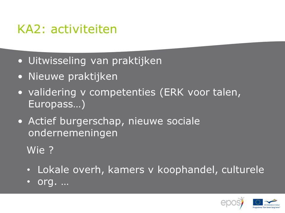 KA2: activiteiten Uitwisseling van praktijken Nieuwe praktijken validering v competenties (ERK voor talen, Europass…) Wie .