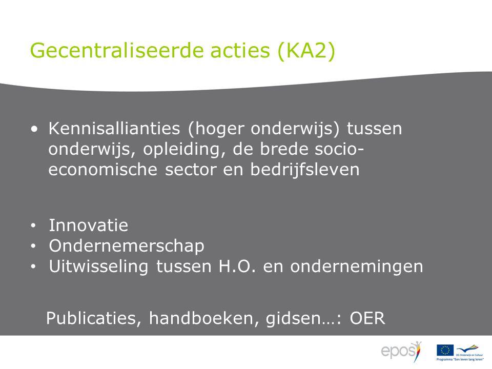 Gecentraliseerde acties (KA2) Kennisallianties (hoger onderwijs) tussen onderwijs, opleiding, de brede socio- economische sector en bedrijfsleven Innovatie Ondernemerschap Uitwisseling tussen H.O.