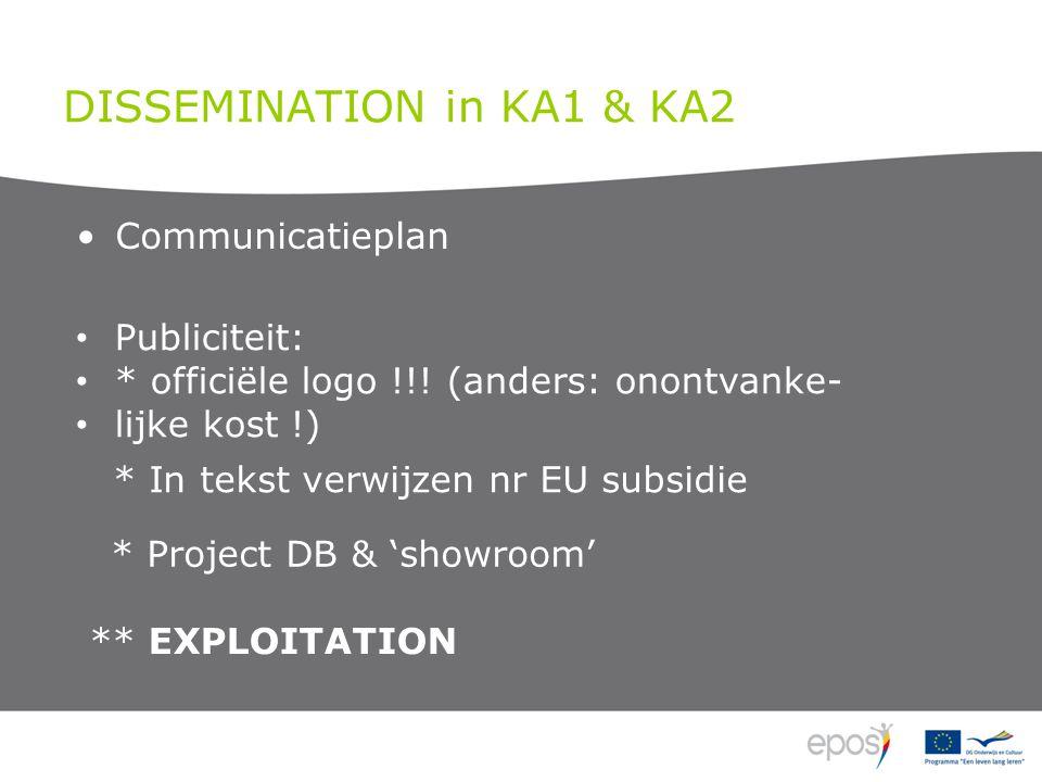 DISSEMINATION in KA1 & KA2 Communicatieplan Publiciteit: * officiële logo !!.