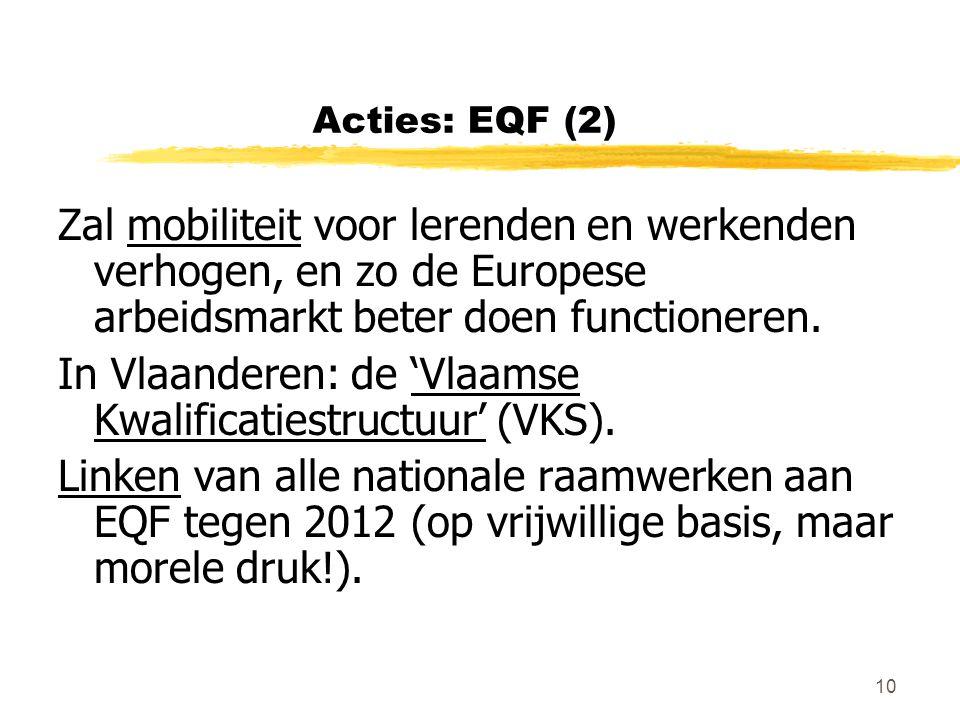 10 Acties: EQF (2) Zal mobiliteit voor lerenden en werkenden verhogen, en zo de Europese arbeidsmarkt beter doen functioneren. In Vlaanderen: de 'Vlaa