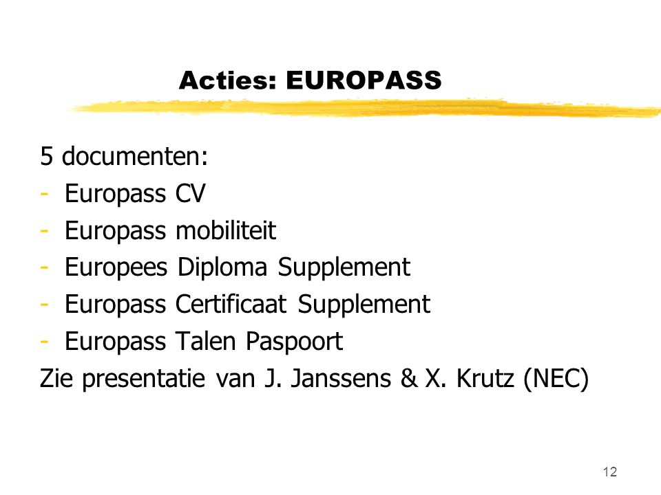 12 Acties: EUROPASS 5 documenten: -Europass CV -Europass mobiliteit -Europees Diploma Supplement -Europass Certificaat Supplement -Europass Talen Pasp
