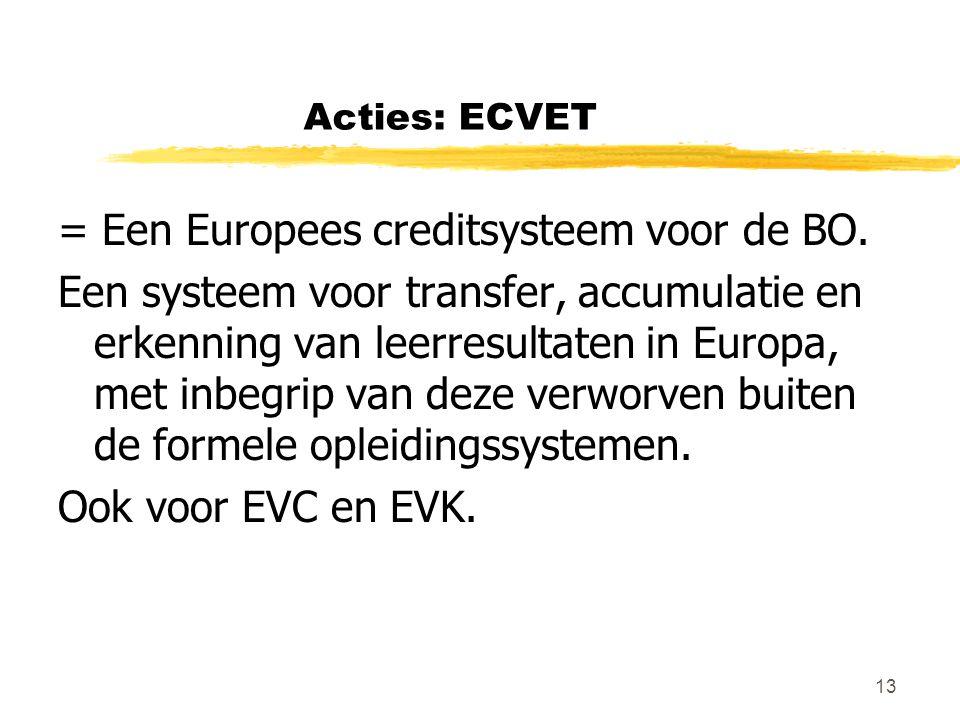 13 Acties: ECVET = Een Europees creditsysteem voor de BO. Een systeem voor transfer, accumulatie en erkenning van leerresultaten in Europa, met inbegr