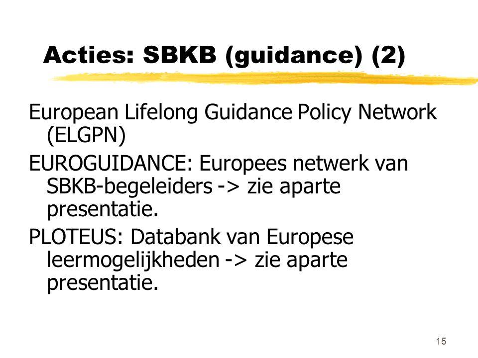 15 Acties: SBKB (guidance) (2) European Lifelong Guidance Policy Network (ELGPN) EUROGUIDANCE: Europees netwerk van SBKB-begeleiders -> zie aparte presentatie.