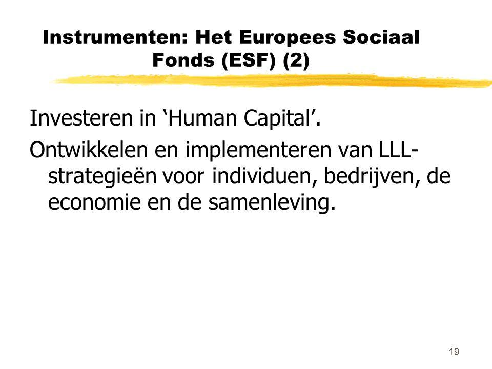 19 Instrumenten: Het Europees Sociaal Fonds (ESF) (2) Investeren in 'Human Capital'. Ontwikkelen en implementeren van LLL- strategieën voor individuen