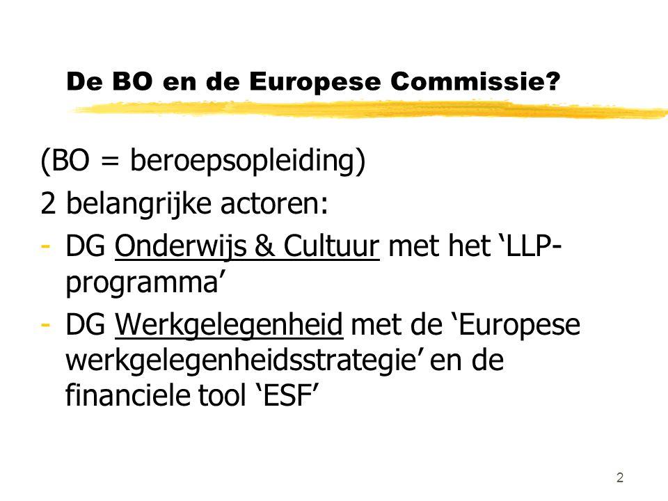 2 De BO en de Europese Commissie? (BO = beroepsopleiding) 2 belangrijke actoren: -DG Onderwijs & Cultuur met het 'LLP- programma' -DG Werkgelegenheid
