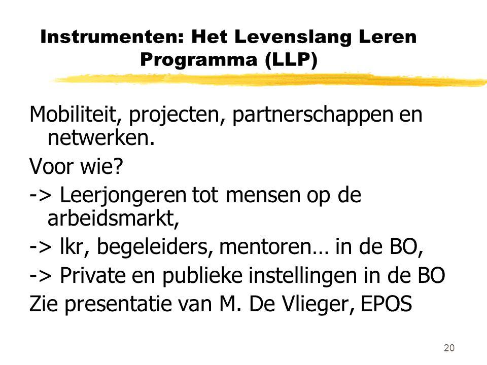 20 Instrumenten: Het Levenslang Leren Programma (LLP) Mobiliteit, projecten, partnerschappen en netwerken. Voor wie? -> Leerjongeren tot mensen op de