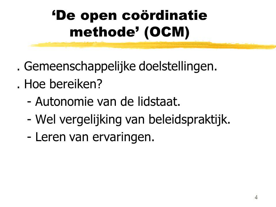 4 'De open coördinatie methode' (OCM). Gemeenschappelijke doelstellingen.. Hoe bereiken? - Autonomie van de lidstaat. - Wel vergelijking van beleidspr