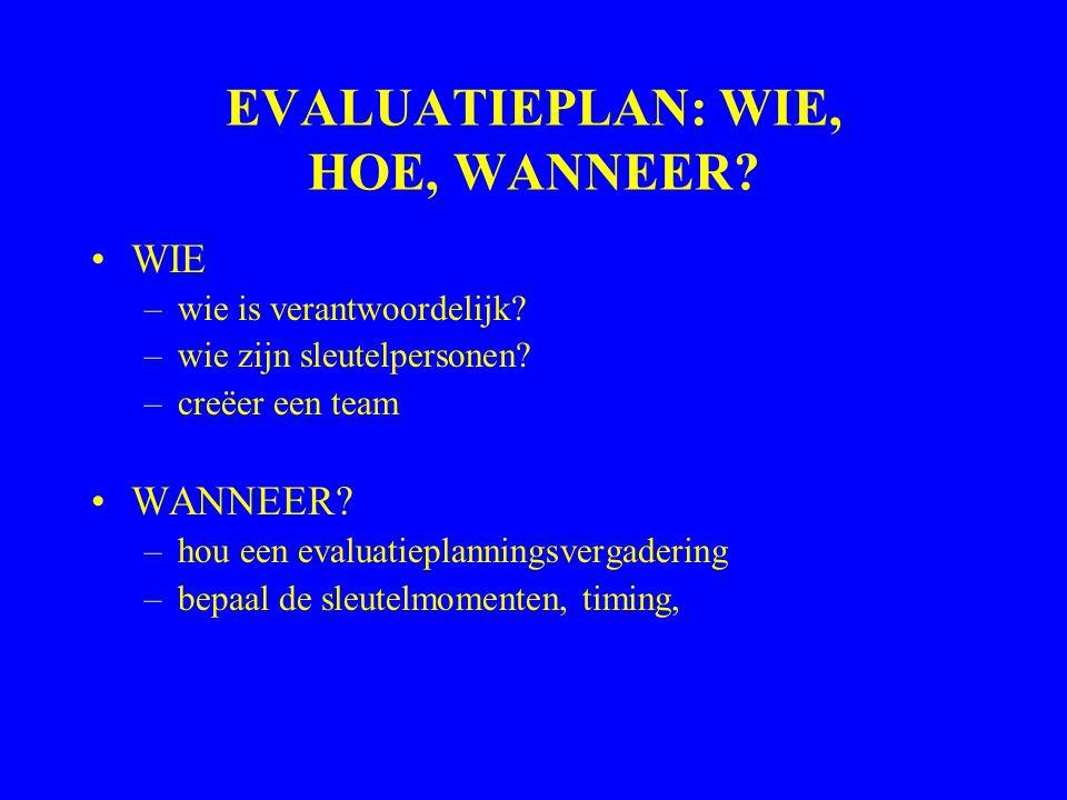 EVALUATIEPLAN: WIE, HOE, WANNEER? WIE –wie is verantwoordelijk? –wie zijn sleutelpersonen? –creëer een team WANNEER? –hou een evaluatieplanningsvergad