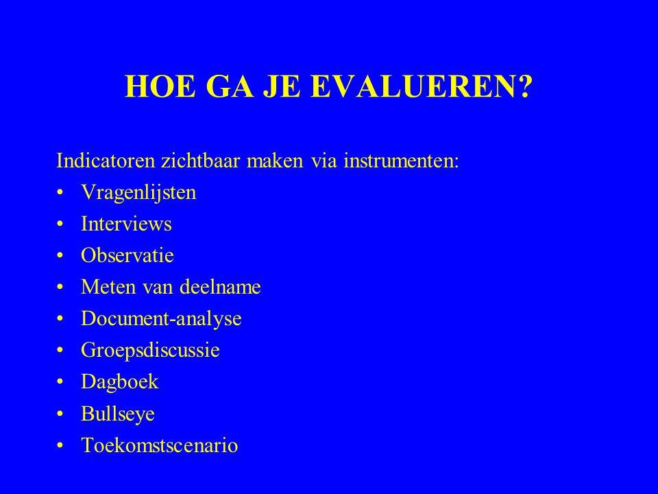 HOE GA JE EVALUEREN? Indicatoren zichtbaar maken via instrumenten: Vragenlijsten Interviews Observatie Meten van deelname Document-analyse Groepsdiscu