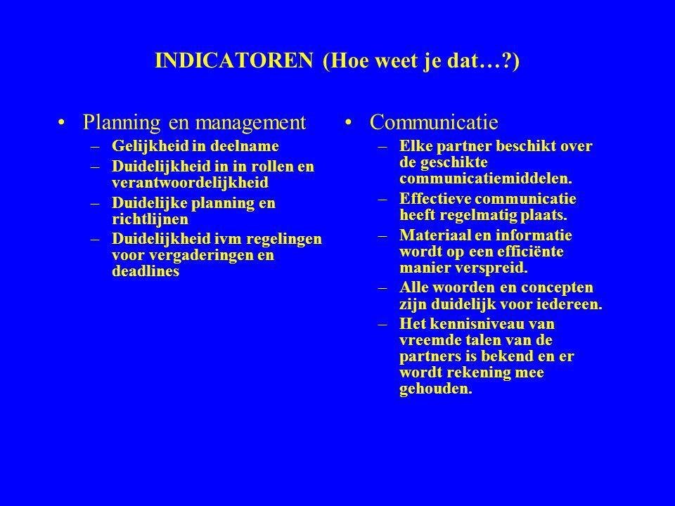 INDICATOREN (Hoe weet je dat…?) Planning en management –Gelijkheid in deelname –Duidelijkheid in in rollen en verantwoordelijkheid –Duidelijke plannin