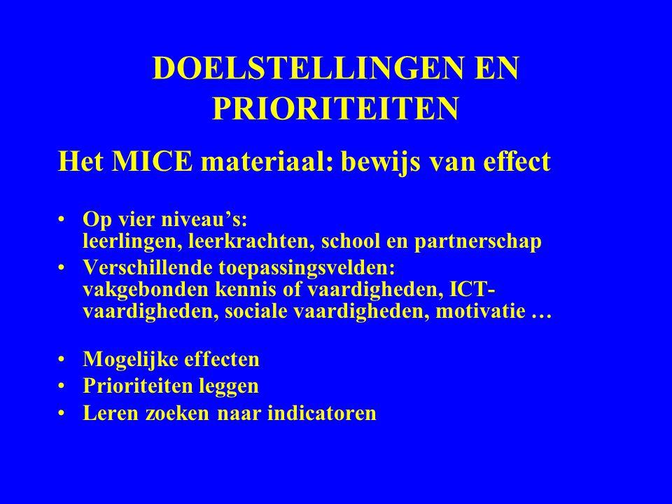 DOELSTELLINGEN EN PRIORITEITEN Het MICE materiaal: bewijs van effect Op vier niveau's: leerlingen, leerkrachten, school en partnerschap Verschillende