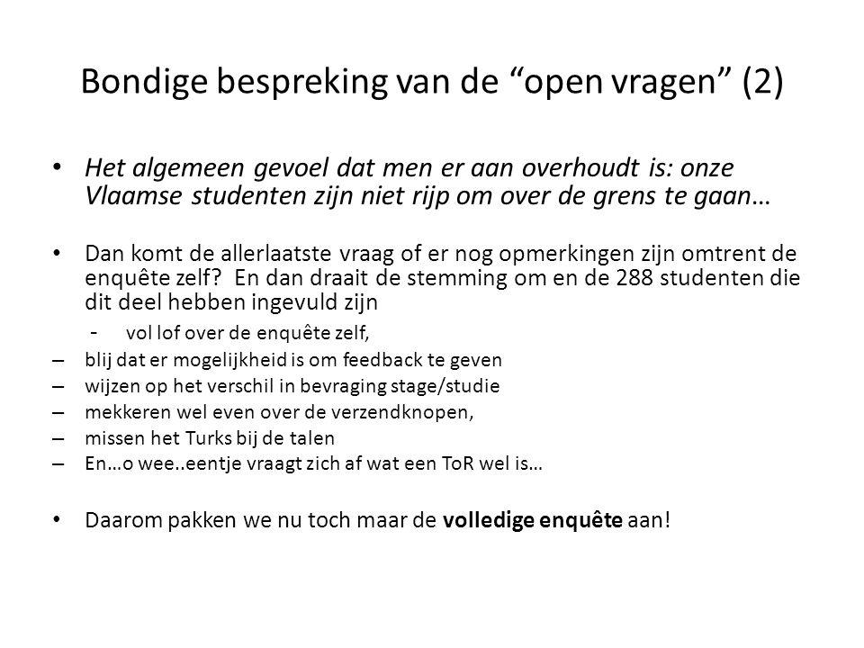 Bondige bespreking van de open vragen (2) Het algemeen gevoel dat men er aan overhoudt is: onze Vlaamse studenten zijn niet rijp om over de grens te gaan… Dan komt de allerlaatste vraag of er nog opmerkingen zijn omtrent de enquête zelf.