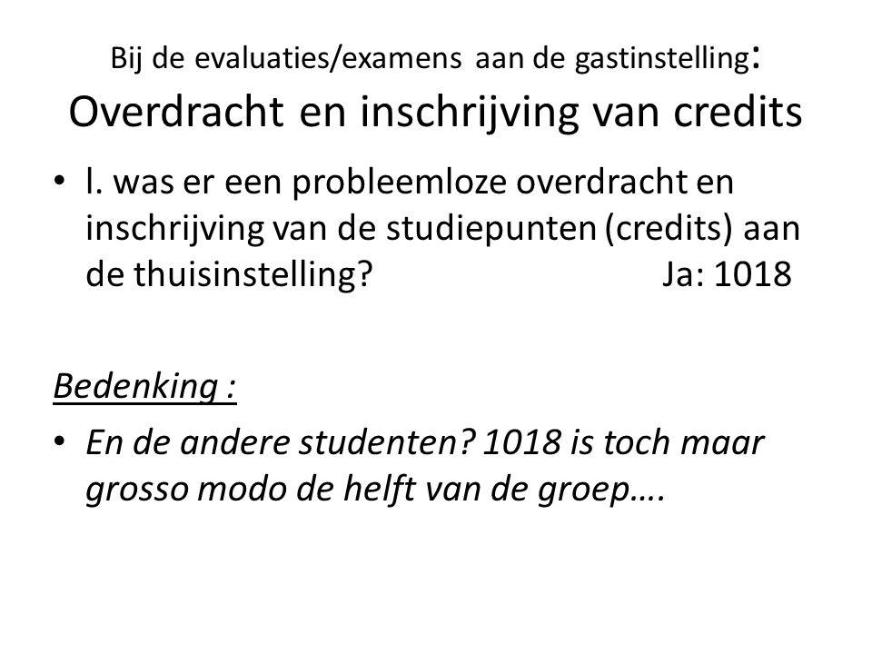 Bij de evaluaties/examens aan de gastinstelling : Overdracht en inschrijving van credits l.