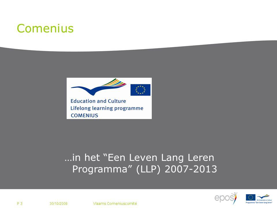 P 3 Comenius 30/10/2008 Vlaams Comeniuscomité …in het Een Leven Lang Leren Programma (LLP) 2007-2013