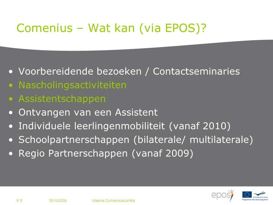 P 5 Comenius – Wat kan (via EPOS).