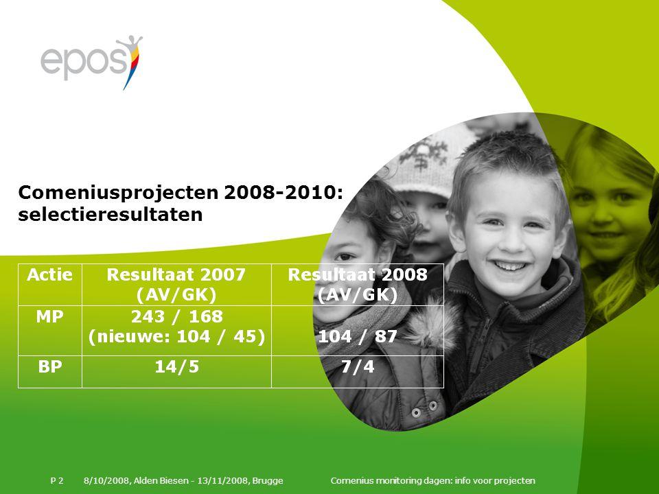 Comeniusprojecten 2008-2010: selectieresultaten 8/10/2008, Alden Biesen - 13/11/2008, Brugge Comenius monitoring dagen: info voor projecten P 2