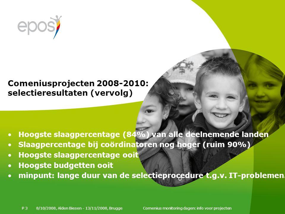 8/10/2008, Alden Biesen - 13/11/2008, Brugge Comenius monitoring dagen: info voor projecten P 3 Hoogste slaagpercentage (84%) van alle deelnemende landen Slaagpercentage bij coördinatoren nog hoger (ruim 90%) Hoogste slaagpercentage ooit Hoogste budgetten ooit minpunt: lange duur van de selectieprocedure t.g.v.