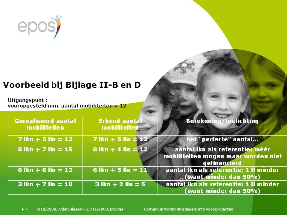 Voorbeeld bij Bijlage II-B en D 8/10/2008, Alden Biesen - 13/11/2008, Brugge Comenius monitoring dagen: info voor projecten P 7 Uitgangspunt : vooropgesteld min.