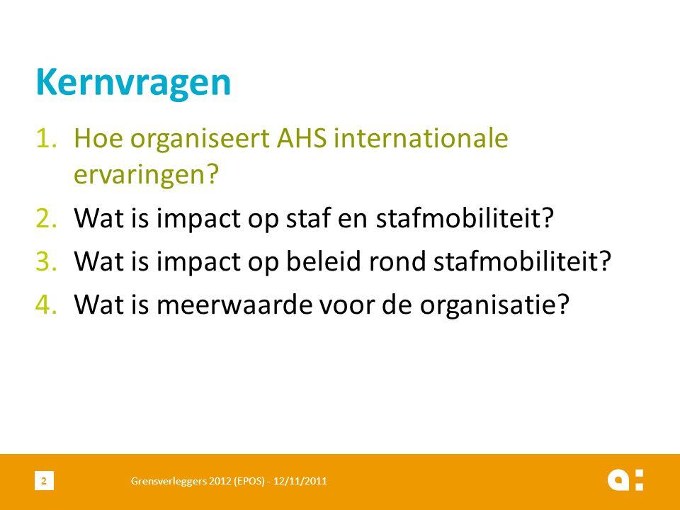 1.Hoe organiseert AHS internationale ervaringen. 2.Wat is impact op staf en stafmobiliteit.