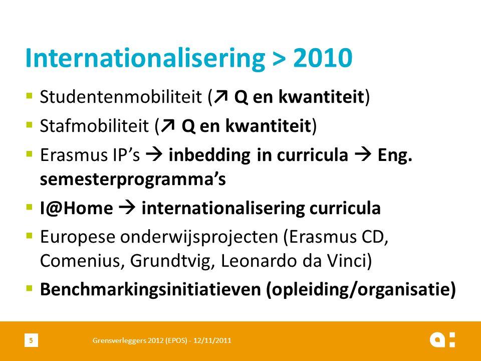  Studentenmobiliteit (↗ Q en kwantiteit)  Stafmobiliteit (↗ Q en kwantiteit)  Erasmus IP's  inbedding in curricula  Eng.