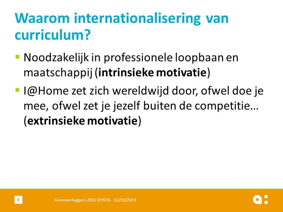  Noodzakelijk in professionele loopbaan en maatschappij (intrinsieke motivatie)  I@Home zet zich wereldwijd door, ofwel doe je mee, ofwel zet je jezelf buiten de competitie… (extrinsieke motivatie) Waarom internationalisering van curriculum.