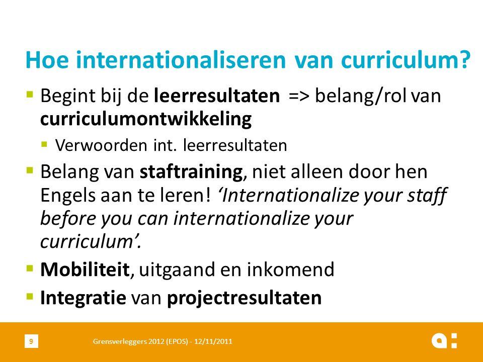  Begint bij de leerresultaten => belang/rol van curriculumontwikkeling  Verwoorden int.