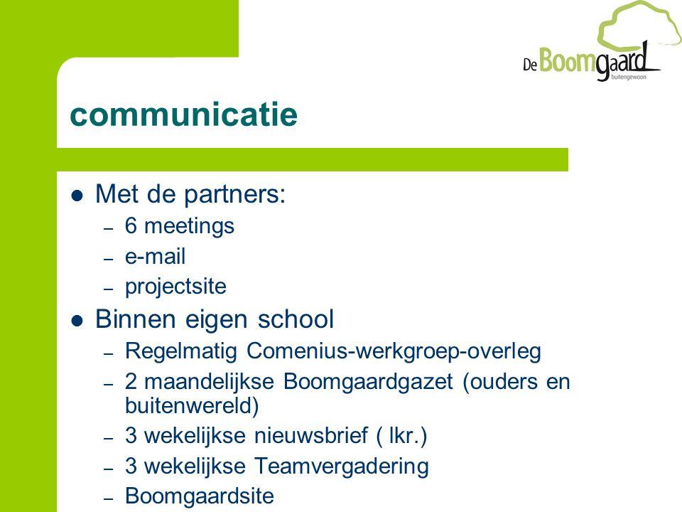 communicatie Met de partners: – 6 meetings – e-mail – projectsite Binnen eigen school – Regelmatig Comenius-werkgroep-overleg – 2 maandelijkse Boomgaardgazet (ouders en buitenwereld) – 3 wekelijkse nieuwsbrief ( lkr.) – 3 wekelijkse Teamvergadering – Boomgaardsite