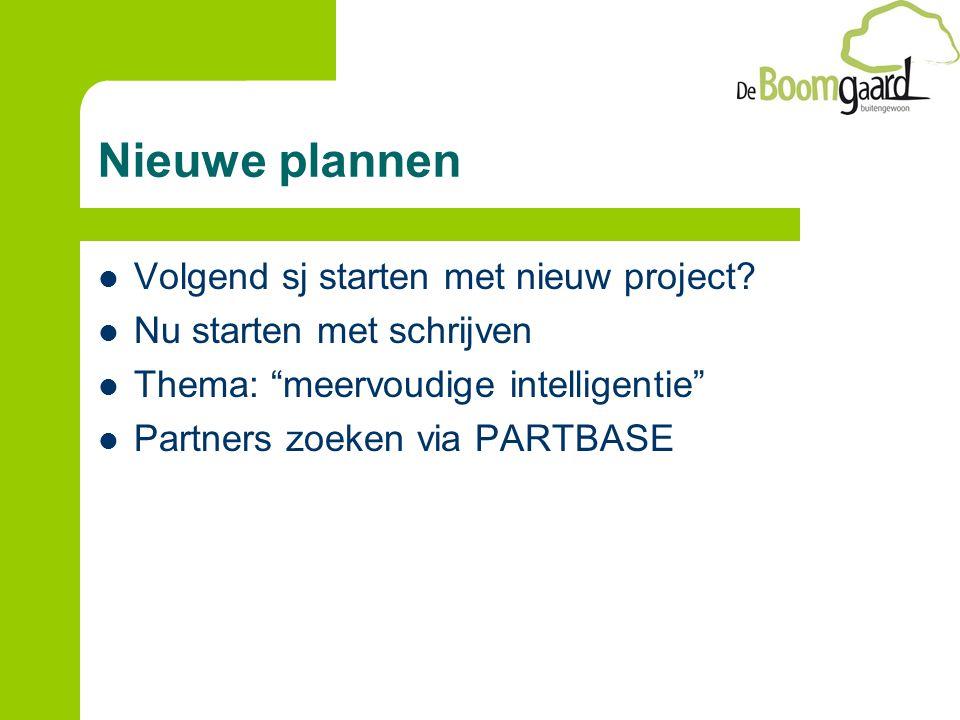 """Nieuwe plannen Volgend sj starten met nieuw project? Nu starten met schrijven Thema: """"meervoudige intelligentie"""" Partners zoeken via PARTBASE"""
