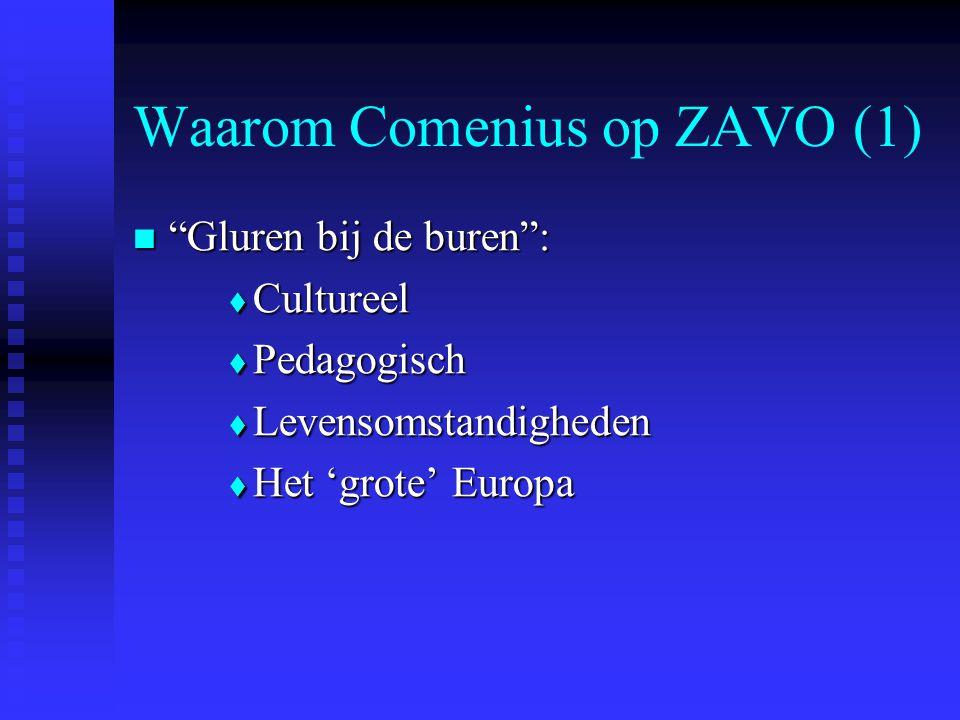 Waarom Comenius op ZAVO (1) Gluren bij de buren : Gluren bij de buren :  Cultureel  Pedagogisch  Levensomstandigheden  Het 'grote' Europa
