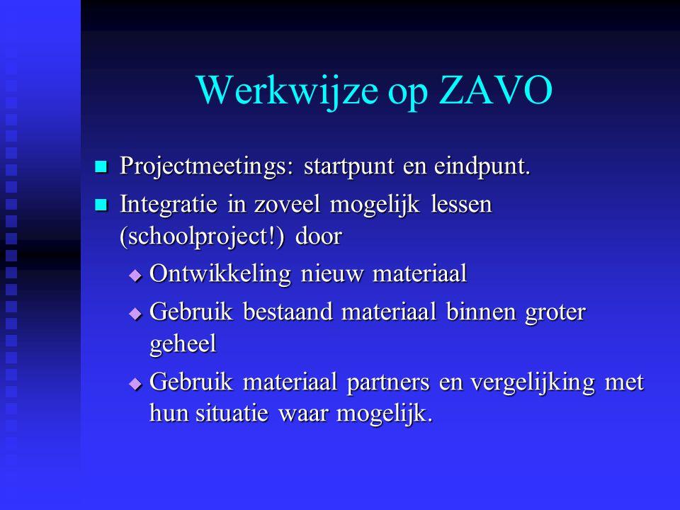 Werkwijze op ZAVO Projectmeetings: startpunt en eindpunt.