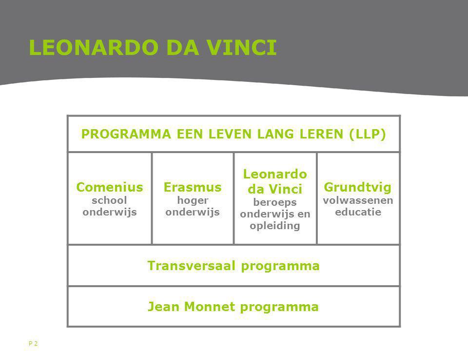 P 2 LEONARDO DA VINCI PROGRAMMA EEN LEVEN LANG LEREN (LLP) Comenius school onderwijs Erasmus hoger onderwijs Leonardo da Vinci beroeps onderwijs en opleiding Grundtvig volwassenen educatie Transversaal programma Jean Monnet programma