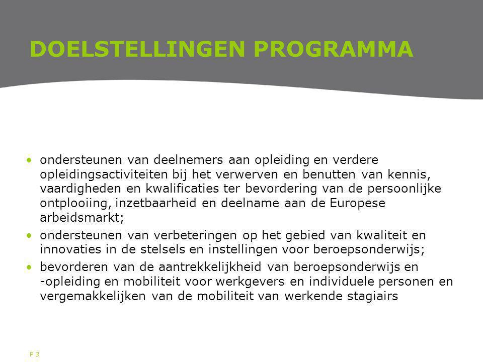 P 3 DOELSTELLINGEN PROGRAMMA ondersteunen van deelnemers aan opleiding en verdere opleidingsactiviteiten bij het verwerven en benutten van kennis, vaa