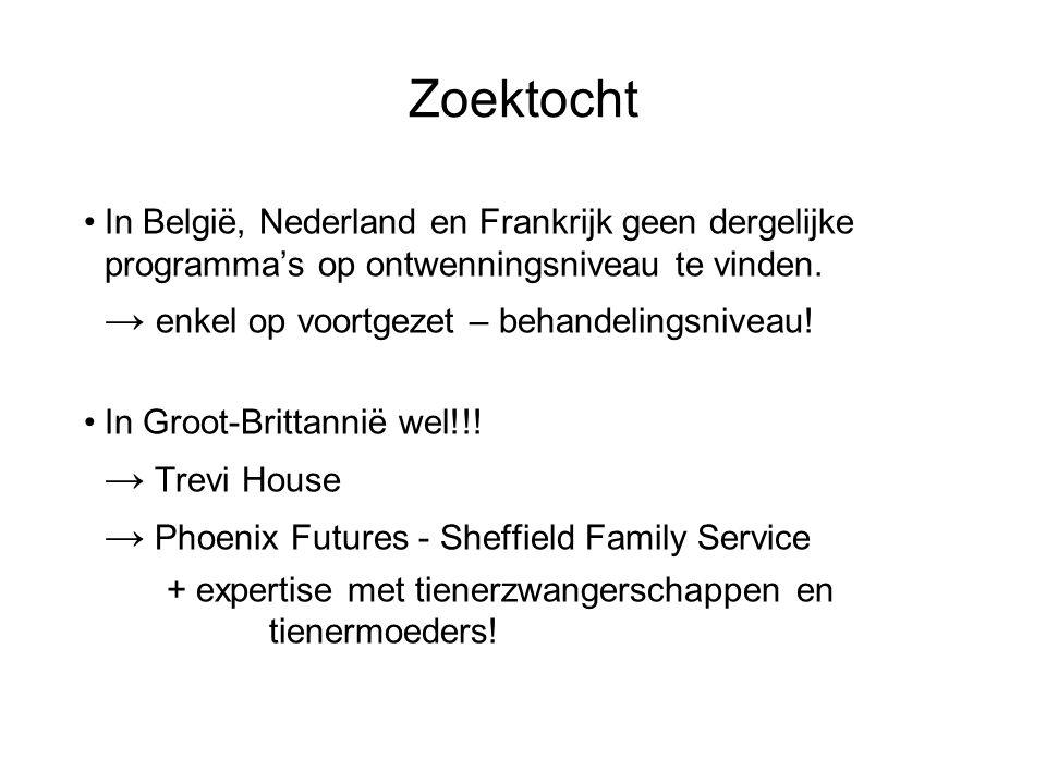 Zoektocht In België, Nederland en Frankrijk geen dergelijke programma's op ontwenningsniveau te vinden.